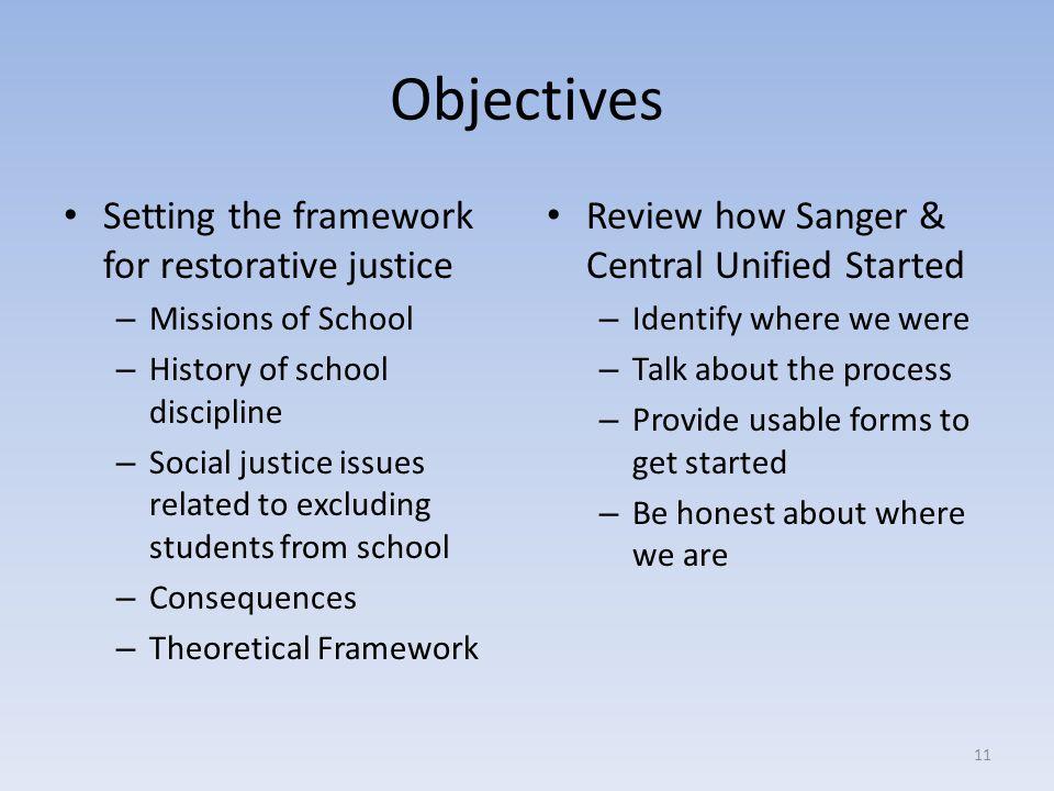 Objectives Setting the framework for restorative justice