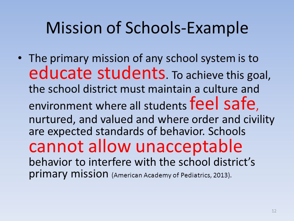 Mission of Schools-Example