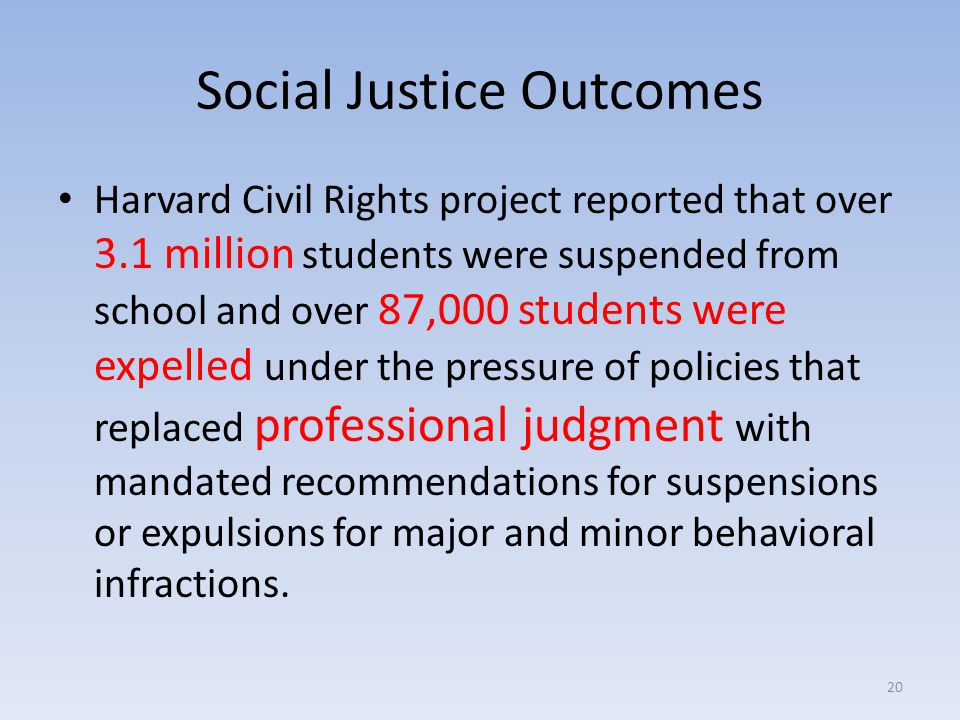 Social Justice Outcomes