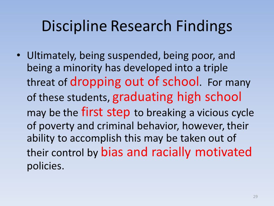 Discipline Research Findings