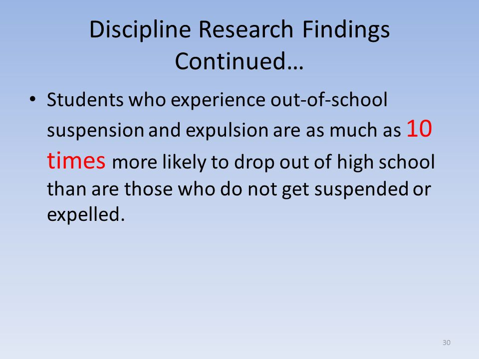 Discipline Research Findings Continued…