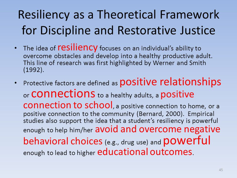 Resiliency as a Theoretical Framework for Discipline and Restorative Justice