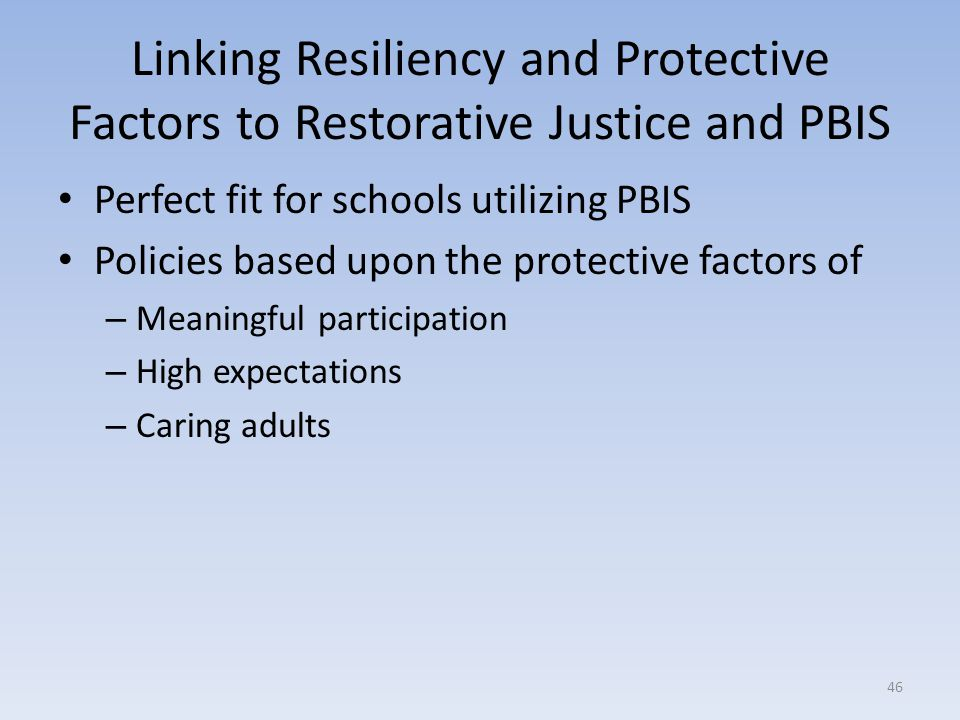 Linking Resiliency and Protective Factors to Restorative Justice and PBIS