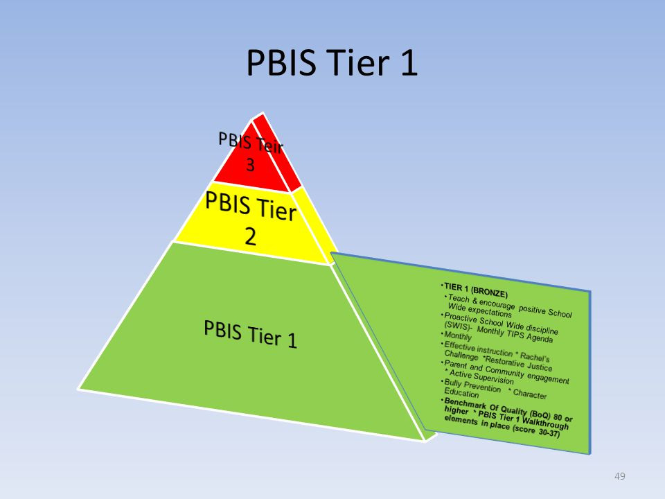 PBIS Tier 1 PBIS Tier 1 PBIS Teir 3 TIER 1 (BRONZE)