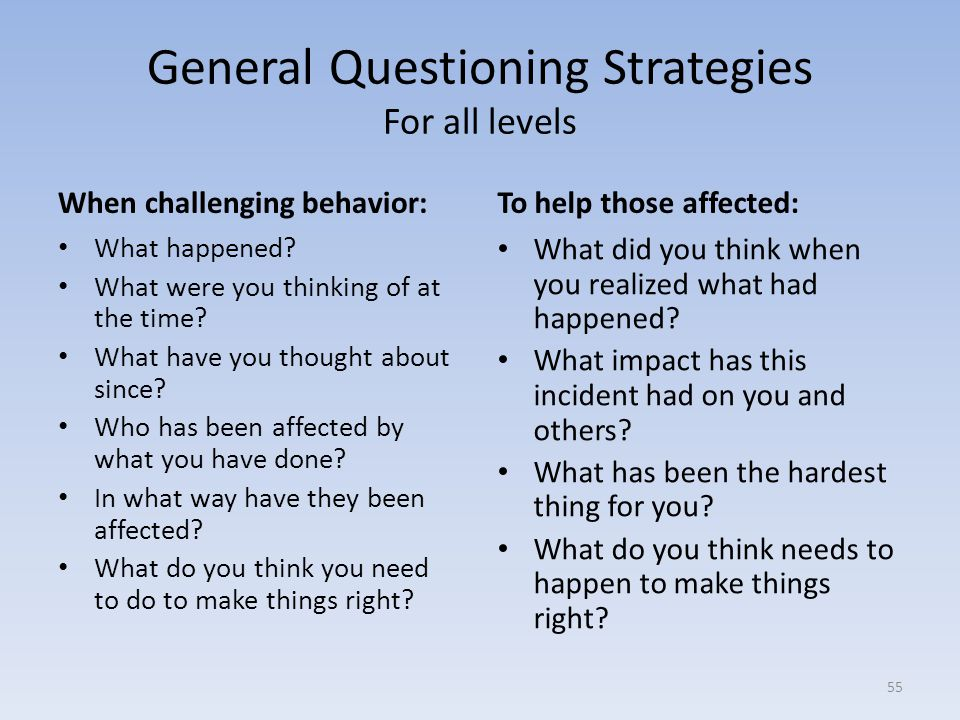 General Questioning Strategies For all levels