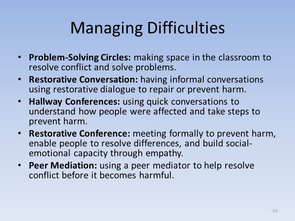 Managing Difficulties