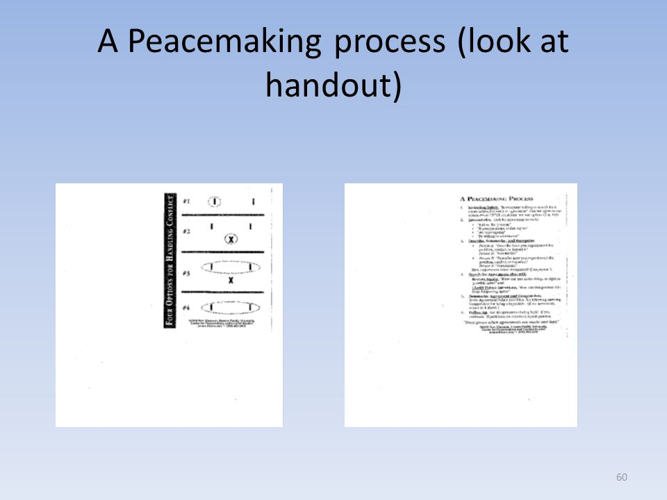 A Peacemaking process (look at handout)
