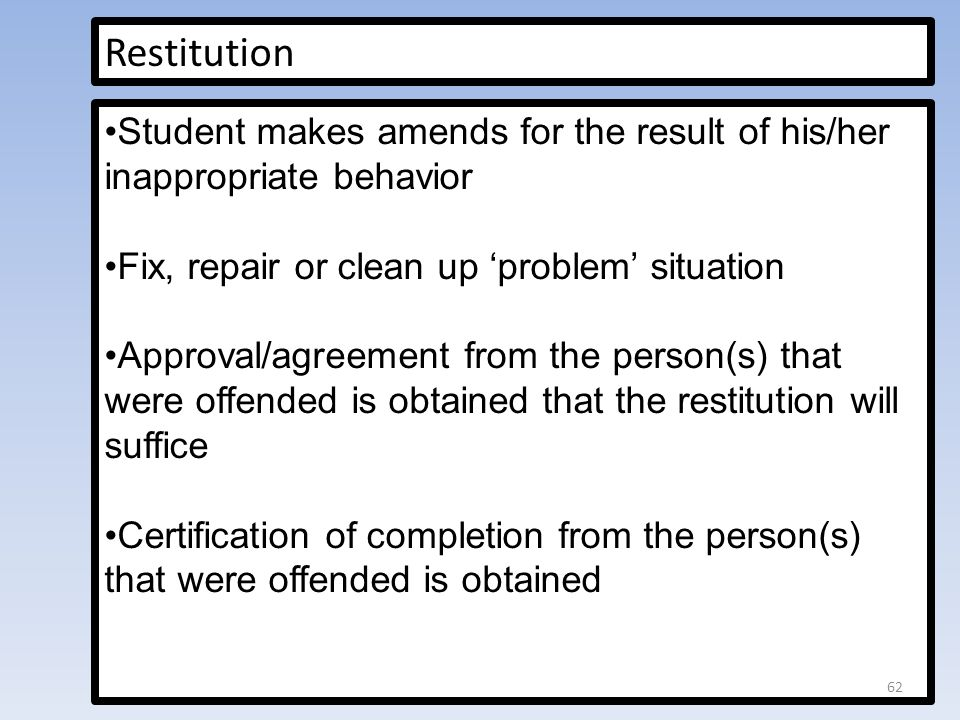 Restitution Student makes amends for the result of his/her inappropriate behavior. Fix, repair or clean up 'problem' situation.