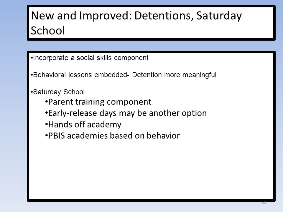 New and Improved: Detentions, Saturday School