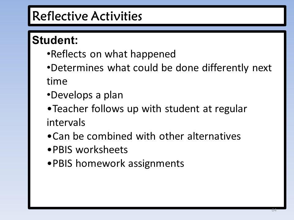Reflective Activities