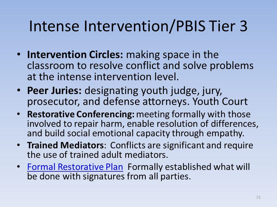 Intense Intervention/PBIS Tier 3