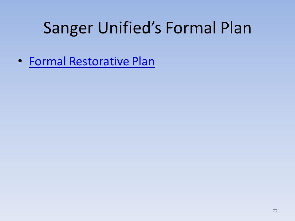 Sanger Unified's Formal Plan