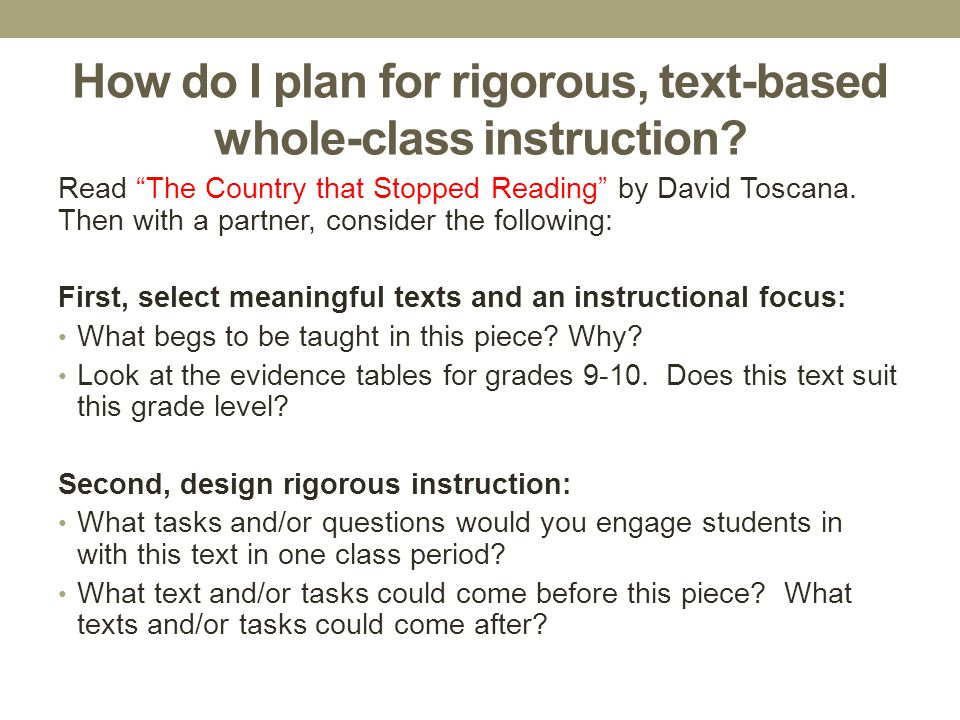How do I plan for rigorous, text-based whole-class instruction