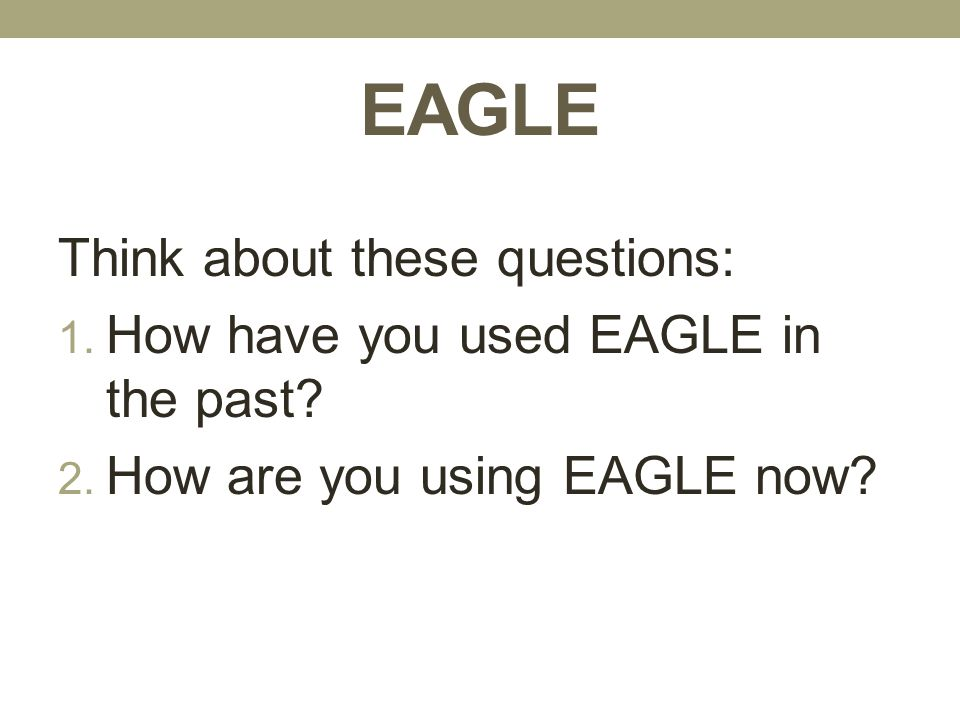 EAGLE Think about these questions: