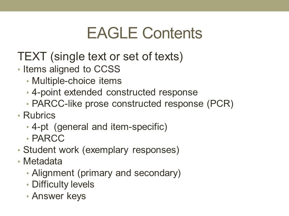 EAGLE Contents TEXT (single text or set of texts)