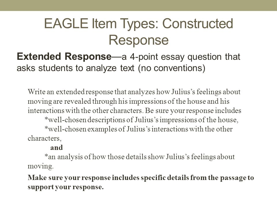 EAGLE Item Types: Constructed Response