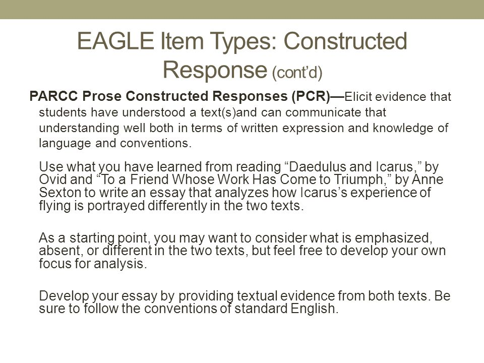 EAGLE Item Types: Constructed Response (cont'd)