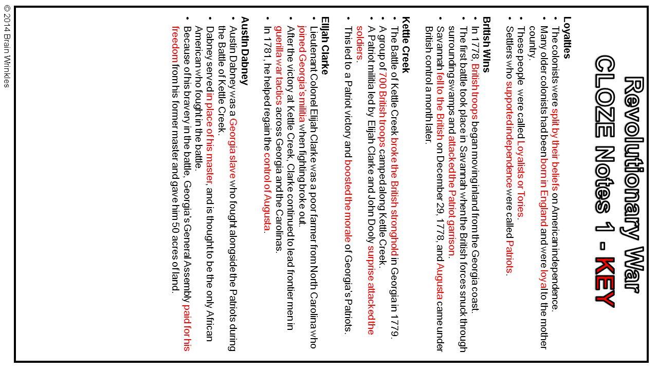CLOZE Notes 1 - KEY Revolutionary War