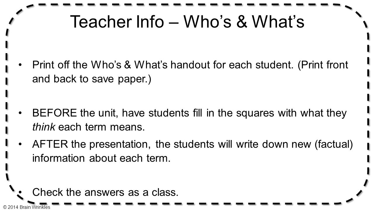 Teacher Info – Who's & What's