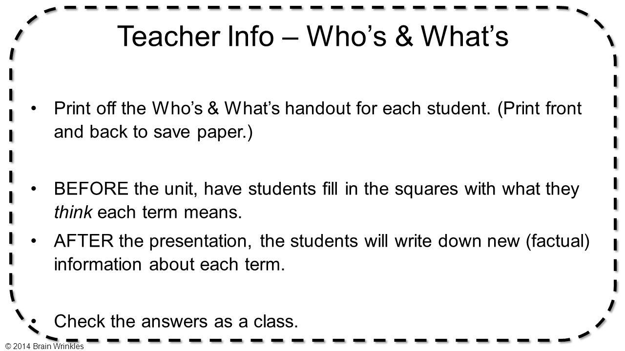 Teacher Info – Who's & What's