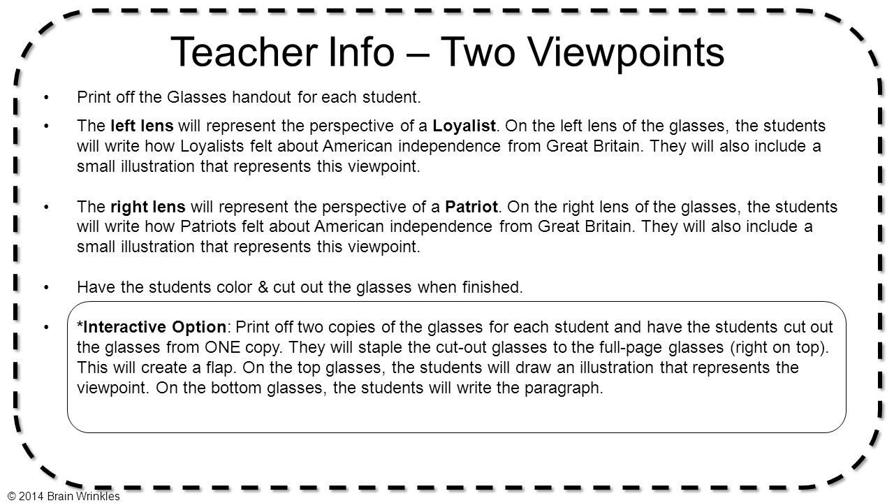 Teacher Info – Two Viewpoints