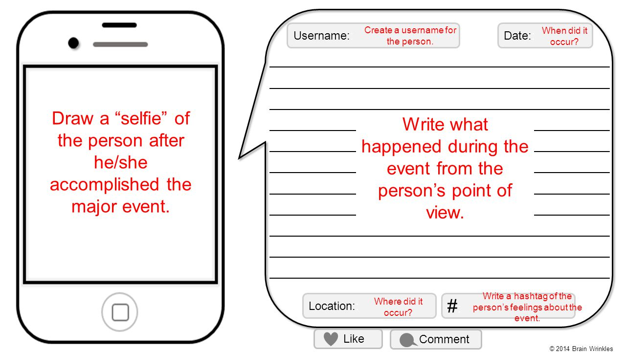 Write what happened during the event from the person's point of view.