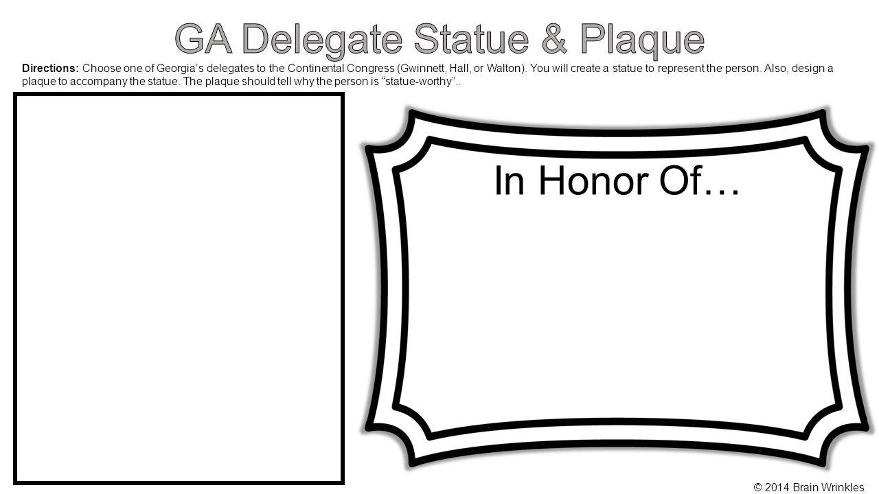 GA Delegate Statue & Plaque
