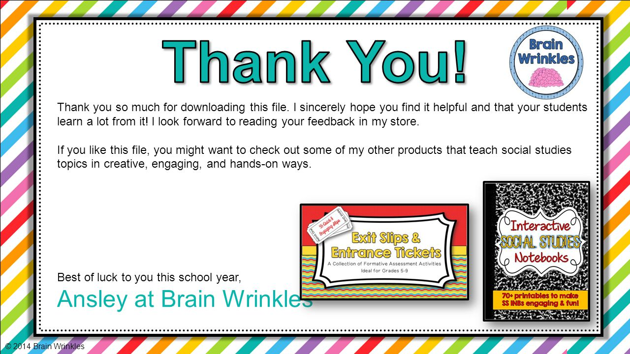 Thank You! Ansley at Brain Wrinkles