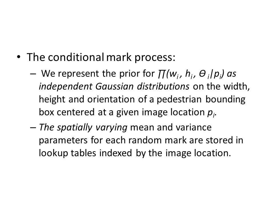 The conditional mark process: