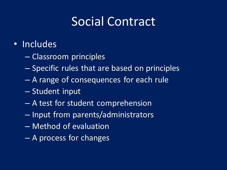 Social Contract Includes Classroom principles