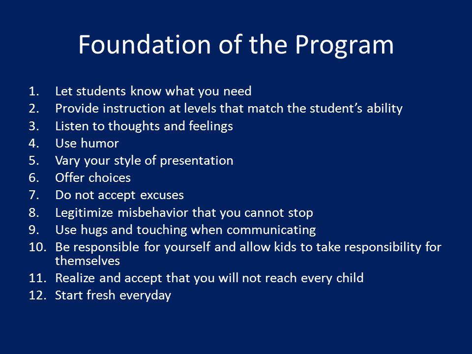 Foundation of the Program