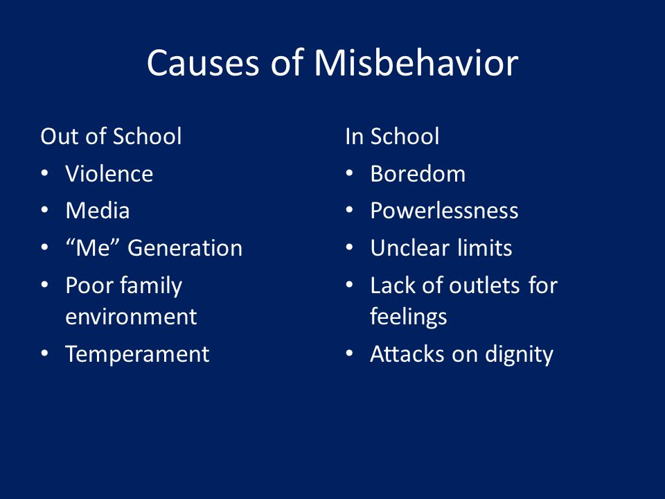 Causes of Misbehavior Out of School Violence Media Me Generation