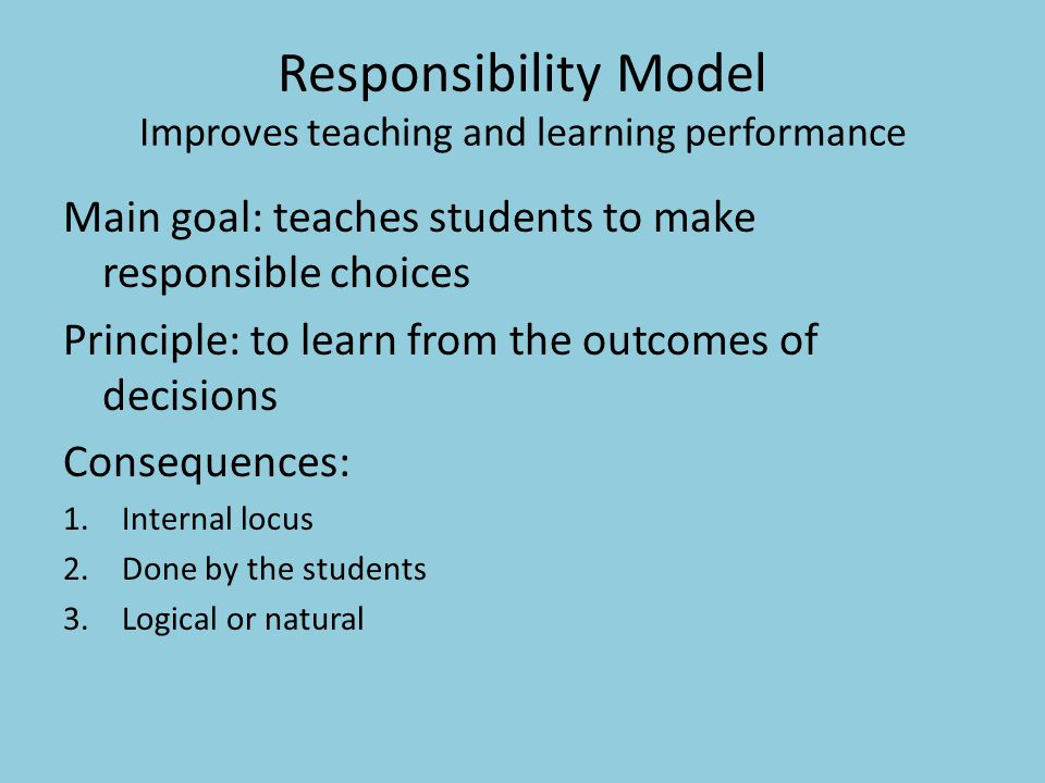 Responsibility Model Improves teaching and learning performance