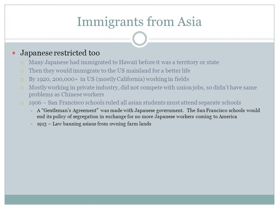 Immigrants from Asia Japanese restricted too