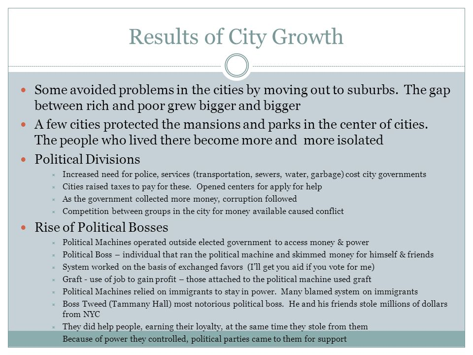 Results of City Growth Some avoided problems in the cities by moving out to suburbs. The gap between rich and poor grew bigger and bigger.