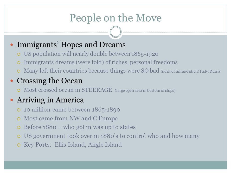 People on the Move Immigrants' Hopes and Dreams Crossing the Ocean