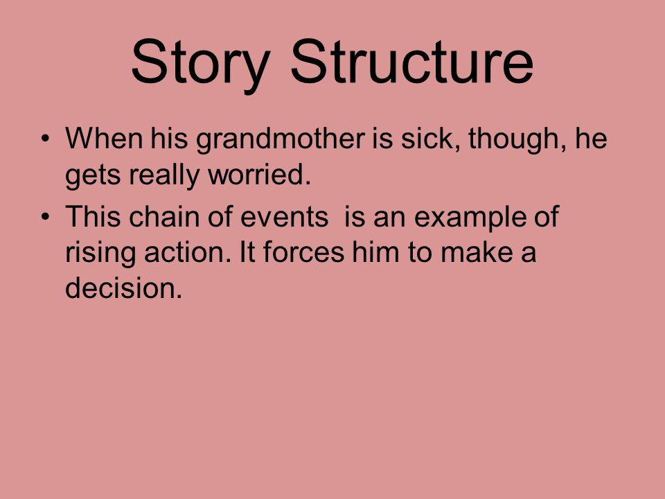 Story Structure When his grandmother is sick, though, he gets really worried.