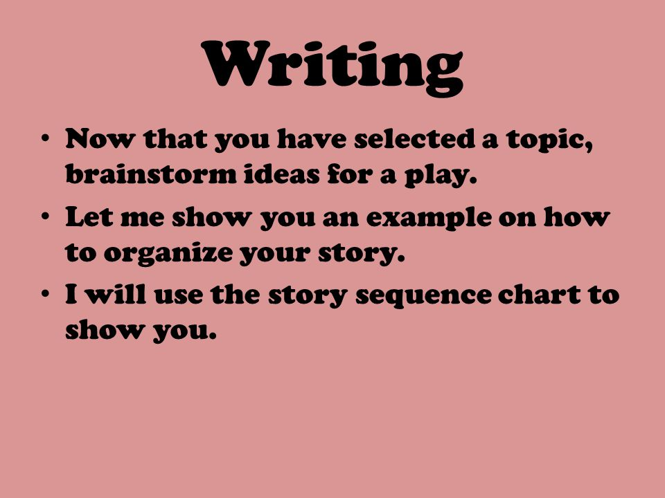 Writing Now that you have selected a topic, brainstorm ideas for a play. Let me show you an example on how to organize your story.
