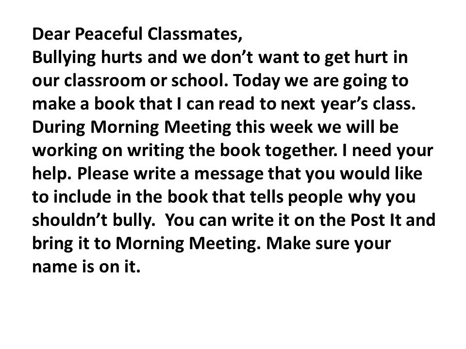 Dear Peaceful Classmates,