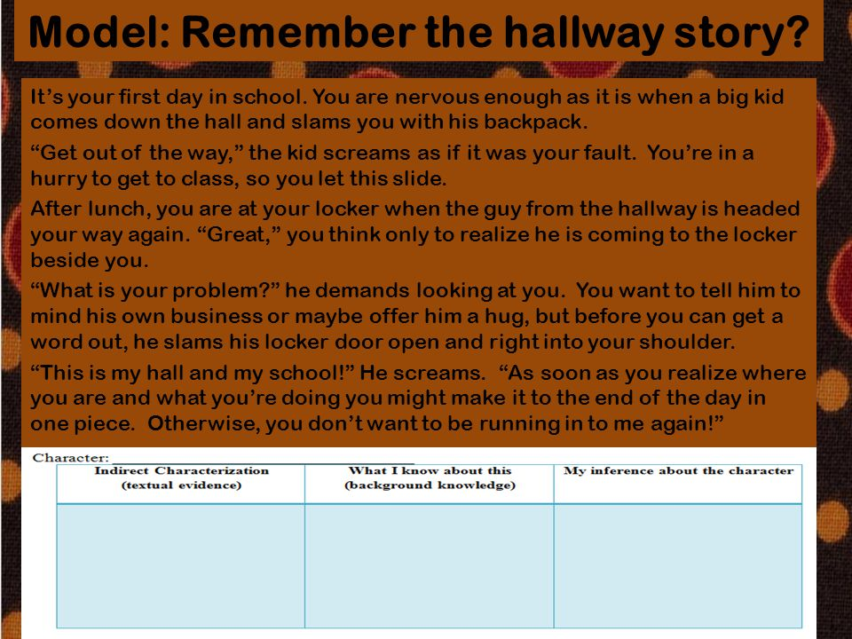 Model: Remember the hallway story