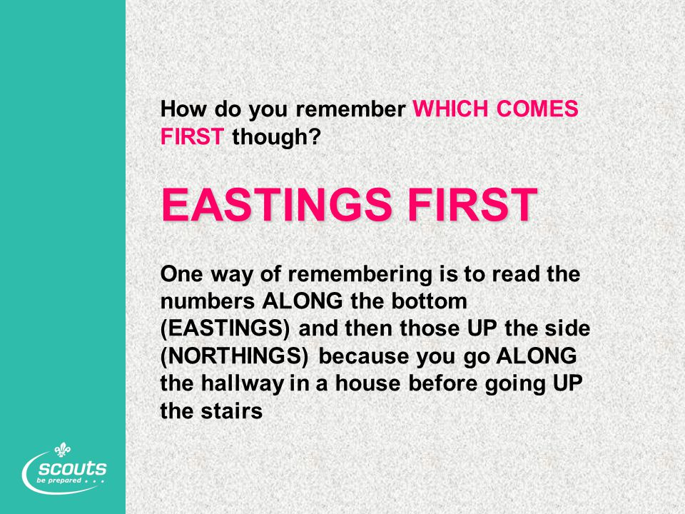EASTINGS FIRST How do you remember WHICH COMES FIRST though