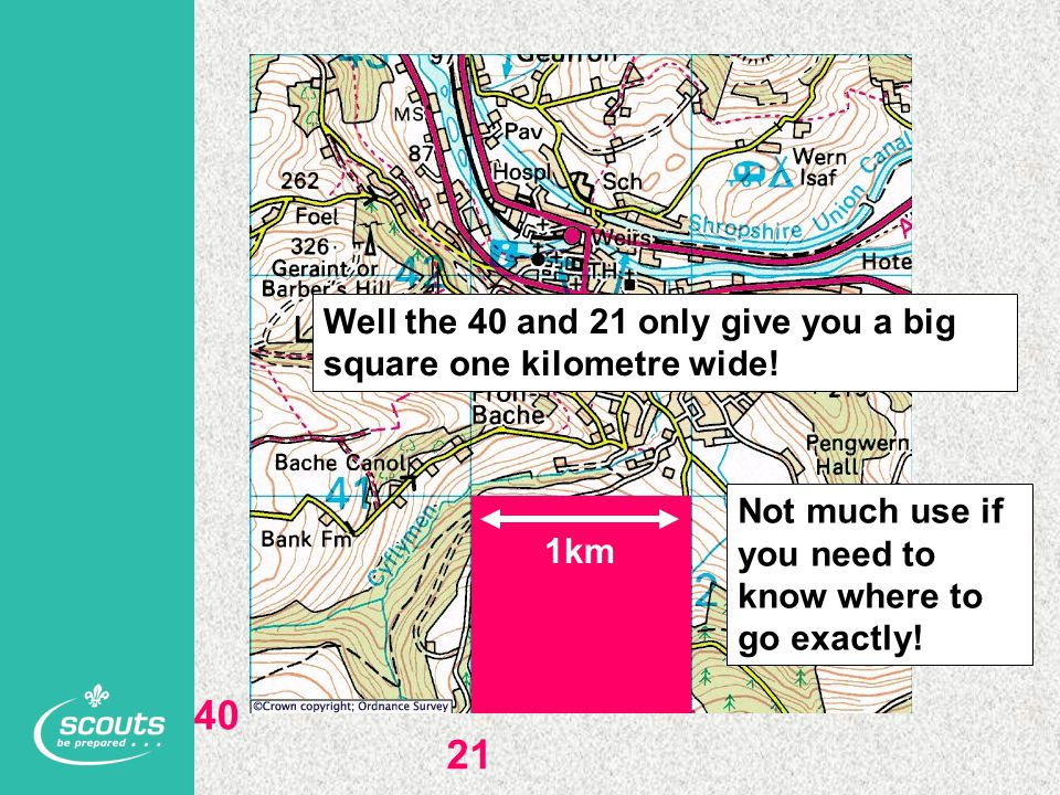 Well the 40 and 21 only give you a big square one kilometre wide!