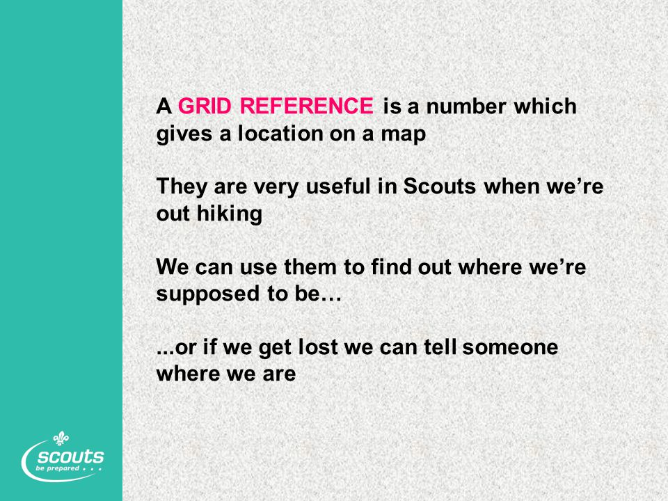 A GRID REFERENCE is a number which gives a location on a map