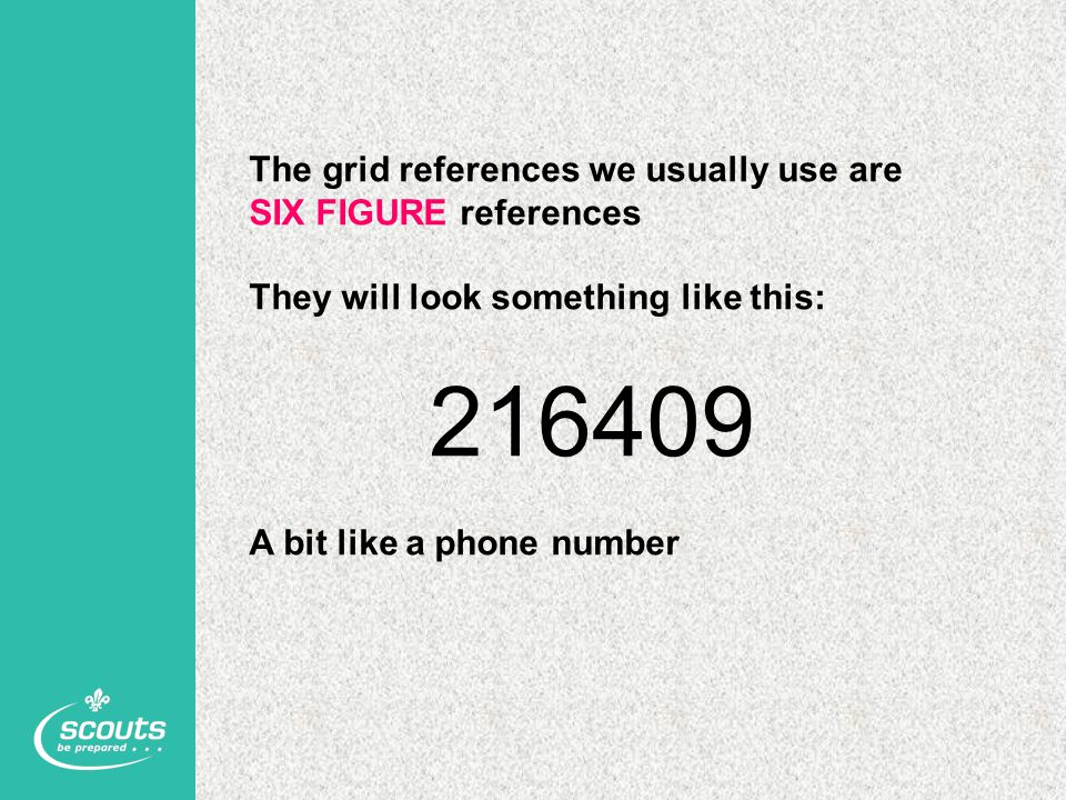 216409 The grid references we usually use are SIX FIGURE references