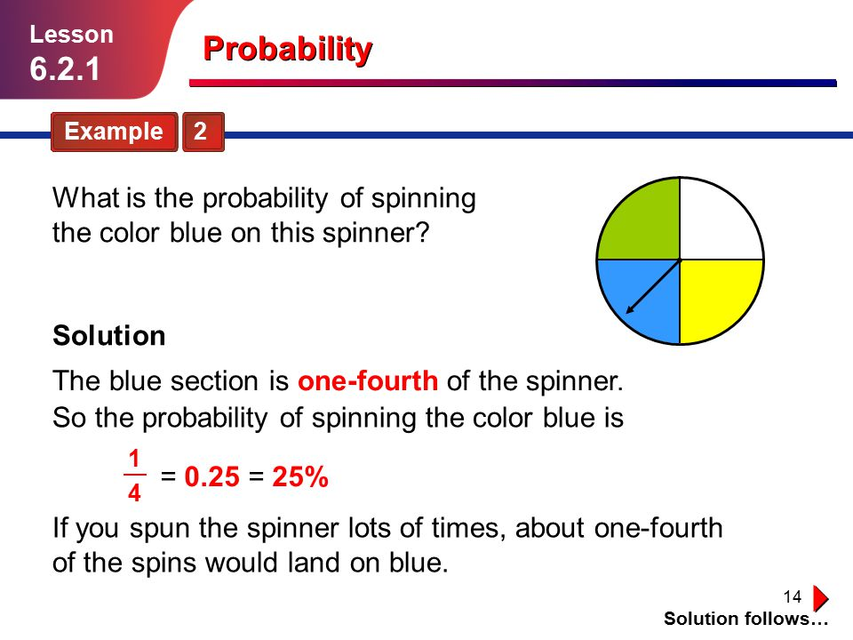 Lesson 6.2.1. Probability. Example 2. What is the probability of spinning the color blue on this spinner