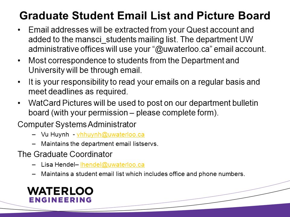 Graduate Student Email List and Picture Board