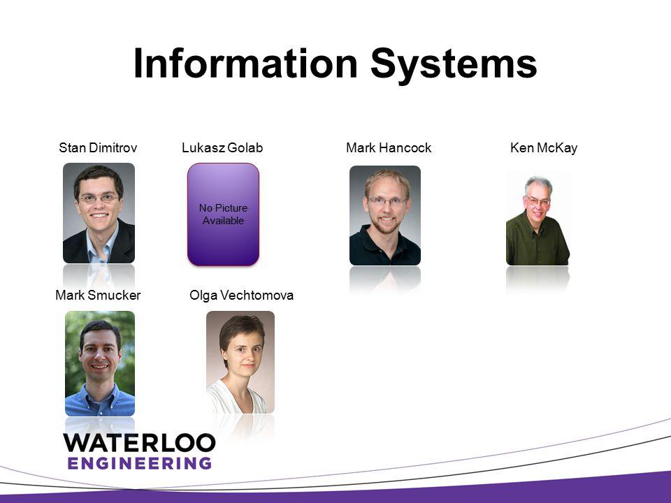 Information Systems Stan Dimitrov Lukasz Golab Mark Hancock Ken McKay Mark Smucker Olga Vechtomova