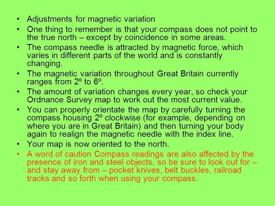 Adjustments for magnetic variation