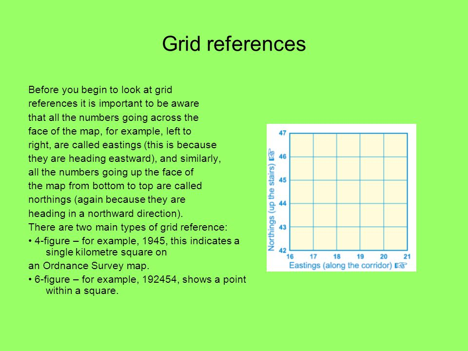 Grid references Before you begin to look at grid