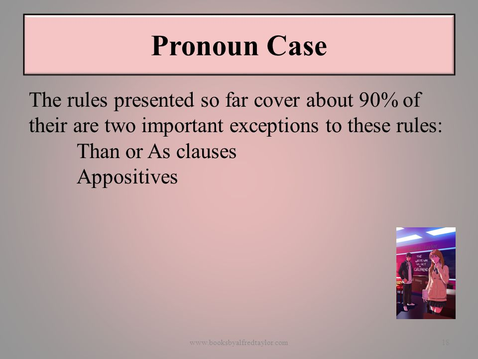 Pronoun Case The rules presented so far cover about 90% of their are two important exceptions to these rules: Than or As clauses Appositives